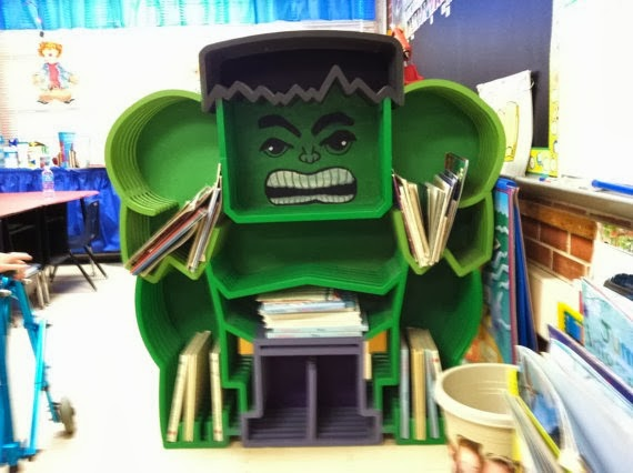 Incredible Hulk Custom Bookcase from Whittled in Wood
