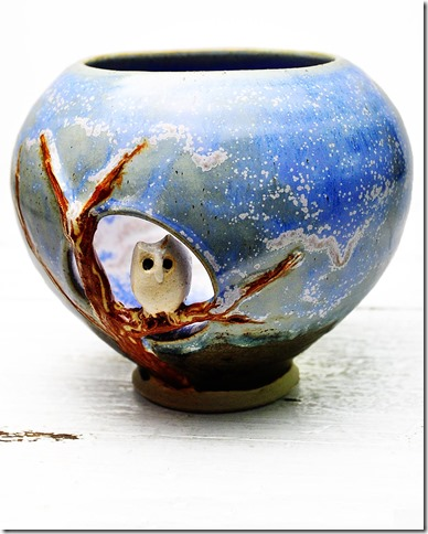 owl votive by Lee Wolfe
