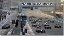 La partenza del gran premio di Abu Dhabi 2012