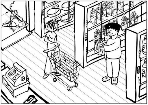 supermarket coloring pages - photo#3