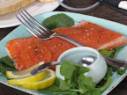 One of Sally James' creation was this smoked salmon with mustard sauce.