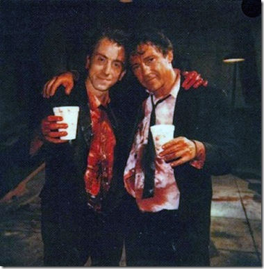 Tim-Roth-and-Harvey-Keitel-on-the-set-of-Reservoir-Dogs