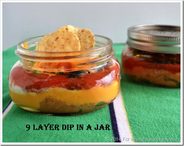 Nine layer dip in a jar