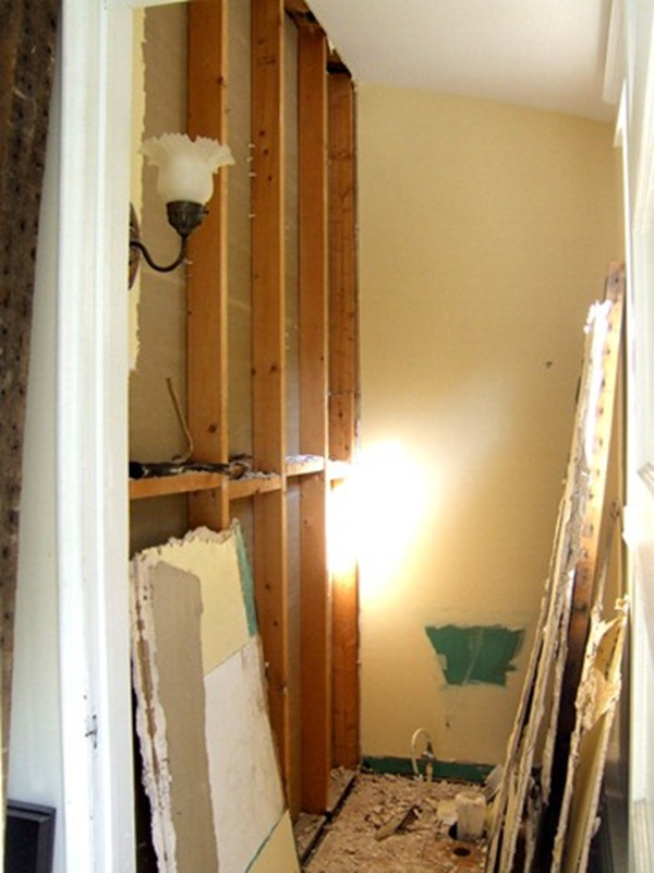 Powder room torn apart