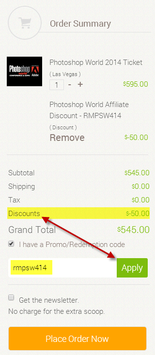 Be sure to click the checkbox, enter the code and click APPLY