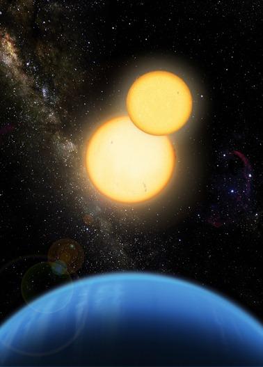 exoplaneta Kepler-35b ao redor de duas estrelas