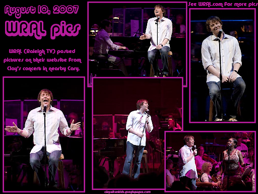 On 8/10/07 WRAL posted pictures on their website from Clay's concert from Cary.