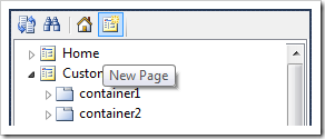 New Page toolbar option in the Project Explorer of web application designer.
