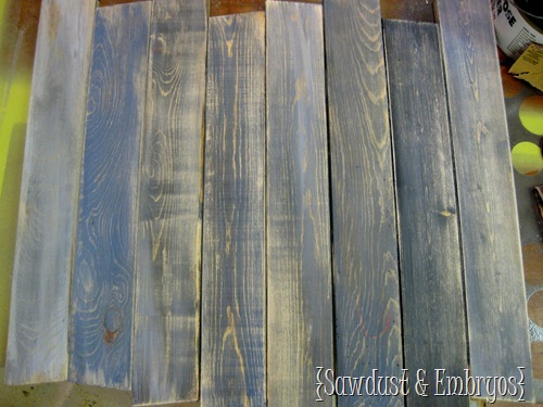 DIY Aged and Distressed Barn Boards {by Sawdust & Embryos}