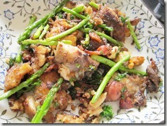fried pampano with asparagus, 240baon
