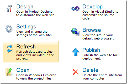 Refresh option on the Project Actions page.