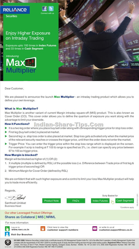 Reliance securities max multiplier - intraday trading product