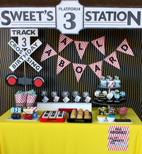 Modern train birthday party