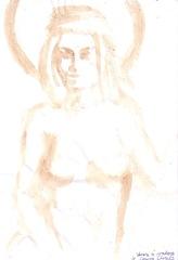 Venere si madona pictura facuta cu cafea