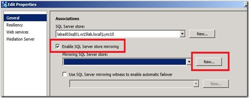 Lync 2013 - SQL Mir - Edit Pool - assoc - markup