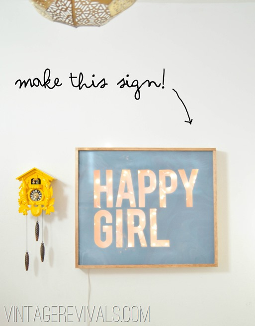 Happy Girl Sign Tutorial @ Vintage Revivals