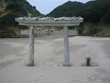A shrine gate at Chikura Caverns, Tanegashima. We saw folks trying to toss rocks and shells onto it.