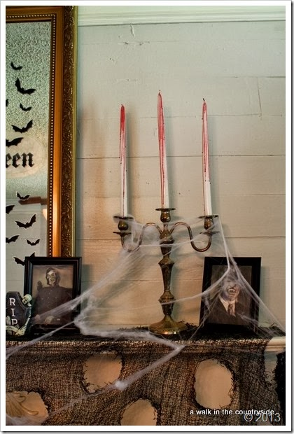 drip red wax on white candles for a more spooky halloween