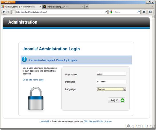 login panel penyelenggaraan Joomla!