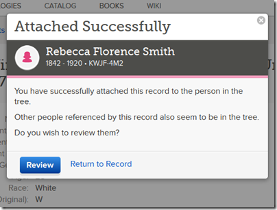 Popup allowing review and attachment of other people on the record