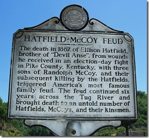 Hatfield-McCoy Feud marker in Matewan, West Virginia
