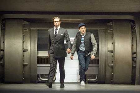 Colin Firth and Taron Egerton in Kingsman The Secret Service