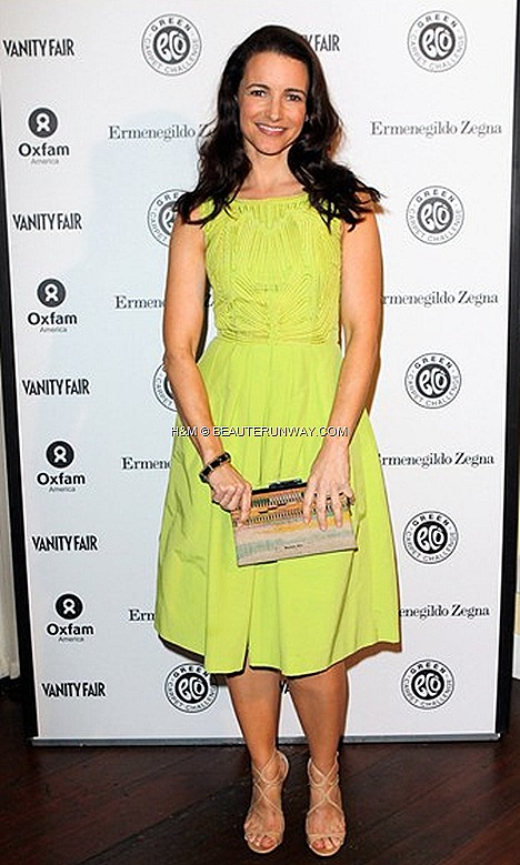 Kristin Davis H&M Spring 2012  Exclusive Conscious Collection H&M organic cotton apple green embroidered dress