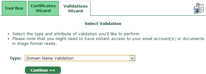 The StartSSL validation wizards tab
