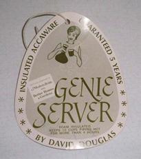 David Douglas Therm Ware carafe Genie Server tag