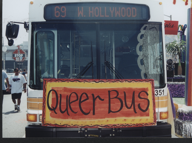 The Los Angeles Metro Queer Bus at the Los Angeles Christopher Street West pride parade. June 17, 2001.