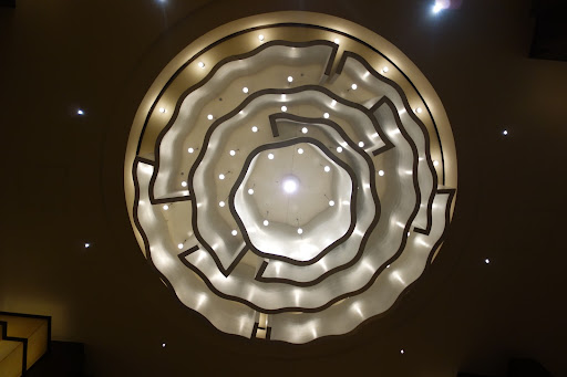 I was transfixed by this modern chandelier every time I passed under it.