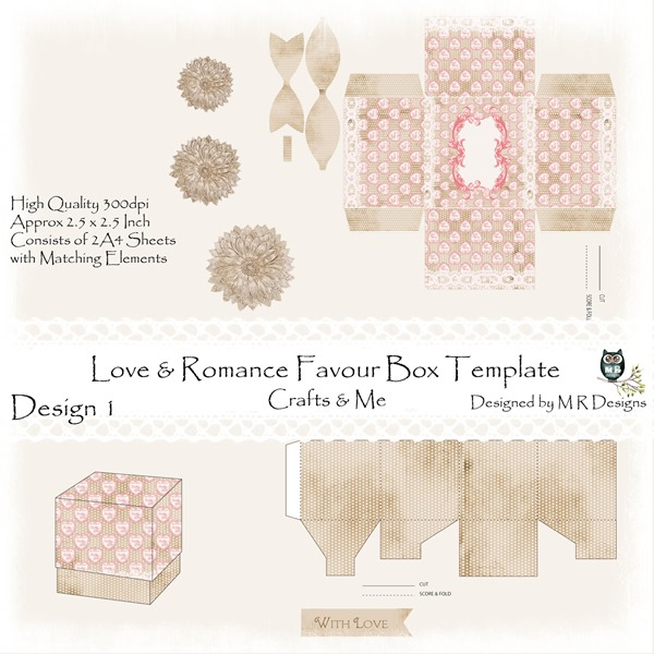 Love & Romance Favour Box Design 1 Front Sheet