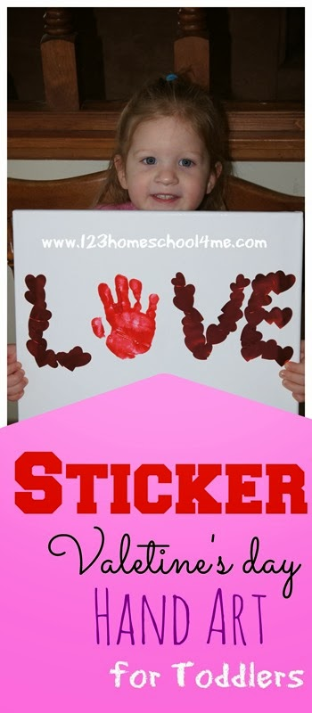 Valentines Day Craft for Kids! This Valentines Day Art Project for toddlers, preschool, and kindergarten age kids is so simple and SO CUTE! It mixes heart stickers with hand art for a precious art project to treasure!
