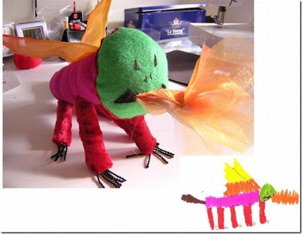 Brinquedos de pelúcia feitos a partir de desenhos de crianças (7)