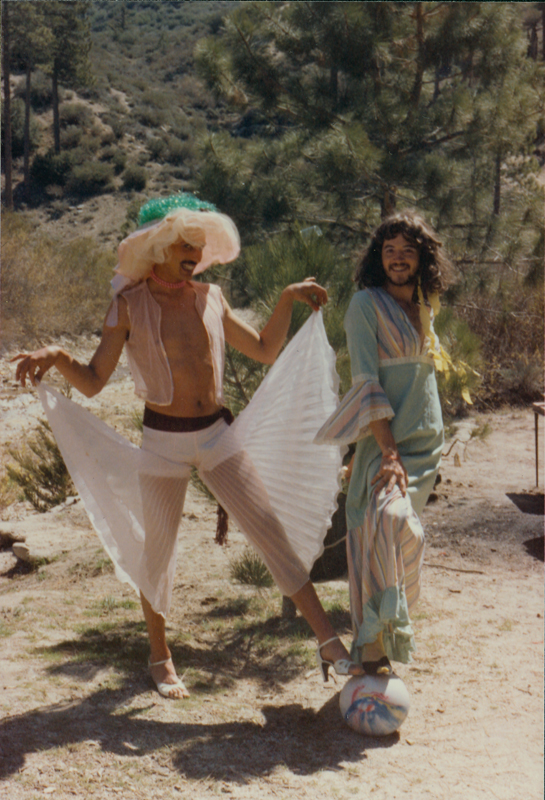 Two members of the Radical Faeries show off their clothes at a gathering at Sulphur Springs on Easter. April 7, 1985.