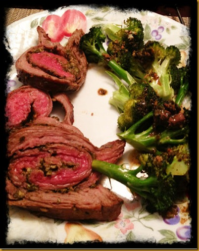 pesto stuffed flank