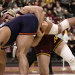 197: #12 Scott Schiller (Minnesota) dec #6 Mario Gonzalez (Illinois) 4-2. Photo by Mark Beshey.v