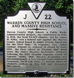 Warren Co. High School and Massive Resistance Marker J-22
