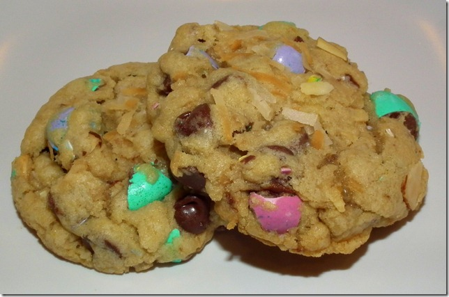 Coconut M&M Chocolate Chip Almond Cookies 2-28-12