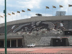 Mural on the outside of the stadium by Diego Rivera &quot;La Universidad, la familia mexicana, la paz y la juventud deportista&quot;