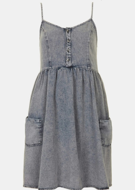 Topshop MOTO Denim Babydoll Dress