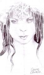Portretul unei regine a iernii desen in creion