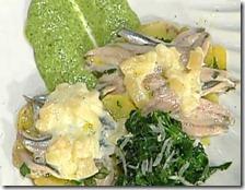 Tortino di alici e patate con salsa di spinaci e pecorino