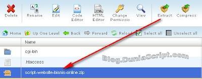 cara install script website bisnis online di hosting