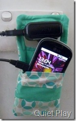 Phone charger hanging pouch