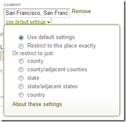 Ancestry.com advanced search form Location filters