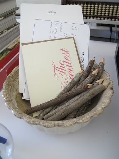 I keep invites and cards in this Ironstone bowl. I prefer a pencil to a pen any day.