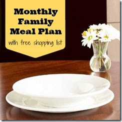 free monthly family meal plan with printable weekly grocery list