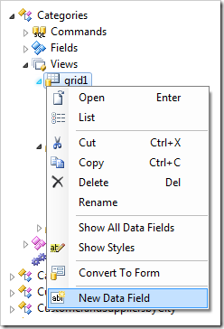 New Data Field context menu option on a grid view in the Project Explorer.