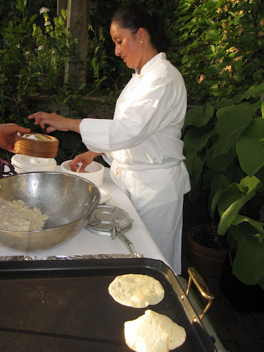 Handmade tortillas are made fresh for the party guests.
